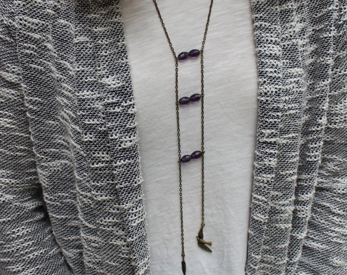 Little Birdie Ladder Necklace in antiqued bronze.