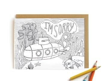 Submarine Sorry - letterpress card