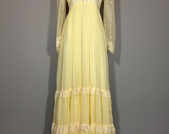 Vintage 70's Gunne Sax Pale Yellow Lace + Gauze Boho Maxi Dress Renaissance S