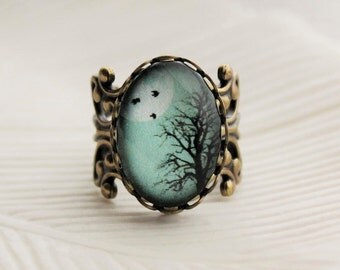 Turquoise Winter Tree Statement Ring