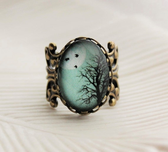 Turquoise Winter Tree Statement Ring. Birds. Winter Tree. Full Moon. Sky