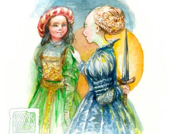 Betrayal - original watercolor painting, game art