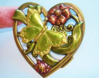 Butterfly Heart Jewelry Brooch