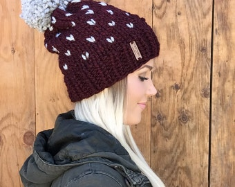 Cabernet Red Knit Cap || Wool Fair Isle Hearts Hat w/ Grey Pom Pom Wool Hair Earwarmer Accessory Knit Fashion Chunky Brown Black Men Girl