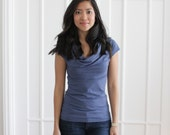 Blue Organic Womens Clothing, Bamboo Top, Eco Friendly Cowl Neck, Organic Cotton Tshirt, Simple Tshirt, Cowl Neck Top, Periwinkle - SARA
