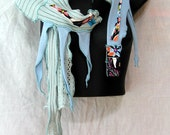 Seafoam & Sky Skinny Scarf….. Peace Piece, OOAK, Recycled ,Reconstructed