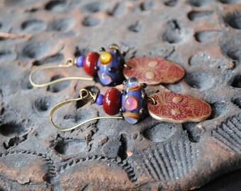 Sugar Skull Earrings, Halloween Earrings, Day of the Dead Jewelry, Red Brass Earrings, Lampwork Glass Bead Earrings, Skull Earrings