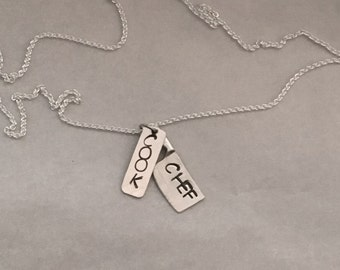 Sterling Silver Chef Custom Stamped Charm Necklace - Cook Charm - Chef Gift - Chef Jewelry - Culinary Graduation Gift - Hand Stamped Dog Tag
