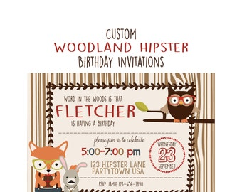 Woodland Hipster Birthday Invitation, Boy or  Girl Party, Custom  5x7 Invitation for Woodland Party, Animals, Baby 1st Birthday Invite