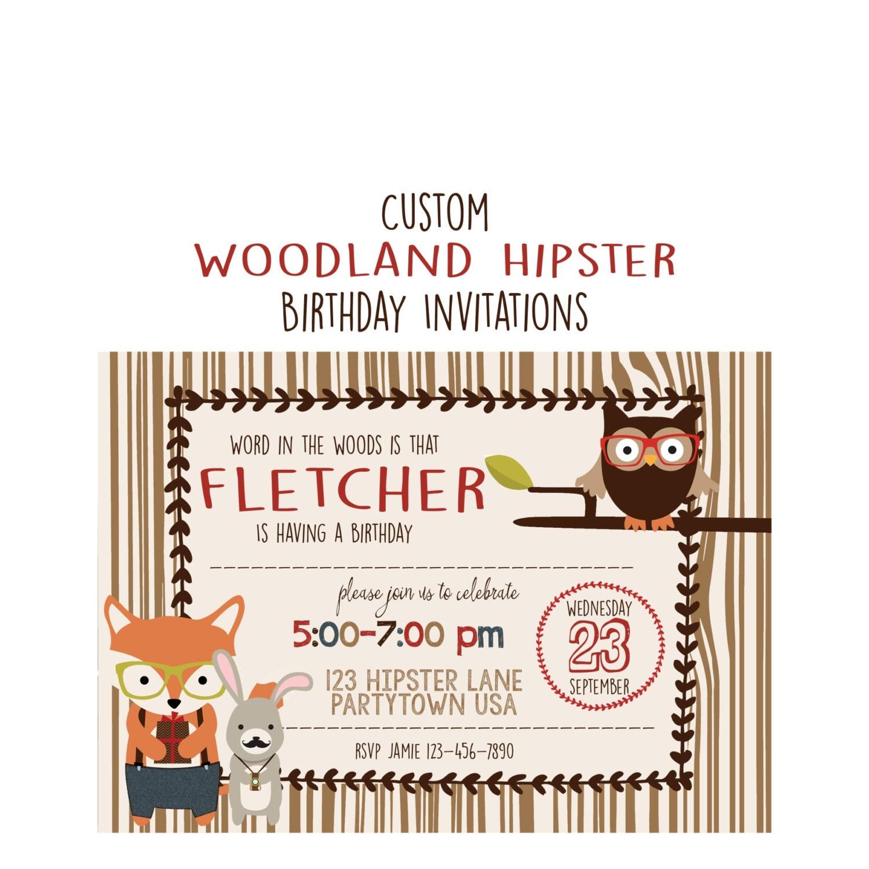 Woodland Hipster Birthday Invitation Boy or Girl Party