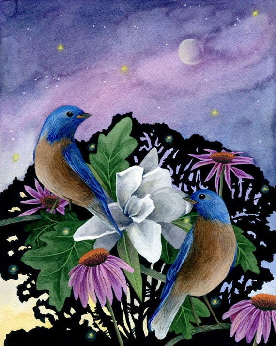 Fine Art Print of Original Watercolor Painting - Singing Birds