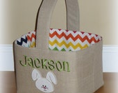 Reserved for Alanna .... Personalized Linen Easter Basket with bunny applique with Rainbow chevron lining