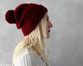 Unisex Burgundy Pom Pom Hat Dark Red Pompom Beanie Slouchy Pom pom Hat Wool Winter Beanie Chunky Knit Beanie Wine Red Crochet Hat