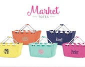Market Tote Bag Basket Solid Color - Monogrammed Summer Picnic