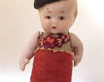 Antique miniature German Hertwig bisque doll