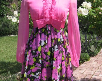Tuxedo Ruffled Pink Floral 70s Mini Dress 32 Bust S XS
