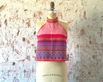 Vintage Red Woven Halter Top Embroidered 1960s 1970s Open Back Hippie Boho Festival S