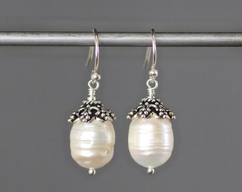 White Pearl Earrings - Bali Silver Earrings - Wire Wrapped Pearls - Pearl and Silver - Wire Wrapped Earrings Silver - Bridal Jewelry - Gift