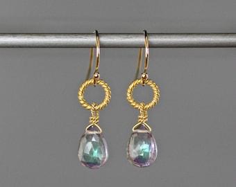 Mystic Quartz Earrings - Mystic Quartz Crystal - Gold Vermeil Dangle Earrings - Quartz Crystal Earrings - Iridescent Earrings - Small Gift