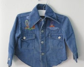 Vintage Children's 70s embroidered denim shirt / Unisex toddler jean shirt jacket / Hippie Boho baby shirt
