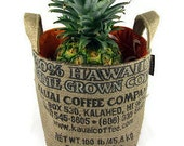 MTO. Custom. Gift Basket. Recycled Kauai, USA Burlap Coffee Bag. Coffee and Hawaii Lover. Medium. Handmade in Hawaii.