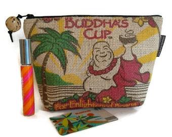 MTO. Custom. Buddha's Cup Burlap Pouch. Repurposed Kona Coffee Bag. Handmade in Hawaii.