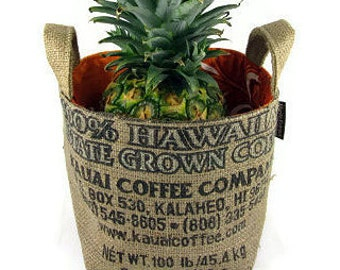 MTO. Custom. Gift Basket. Recycled Kauai, USA Burlap Coffee Bag. Coffee and Hawaii Lover. Medium. Handmade in Hawaii.
