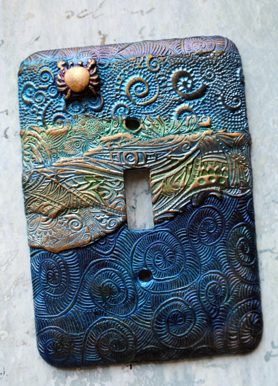 Toggle Switch Cover >> Golden Crab switch plate cover polymer clay ocean theme one