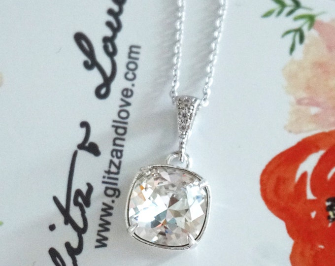 Emma - Silver Clear Wedding Bridesmaid Gift Bridal Necklace, Bridesmaid Jewelry, Silver Rose Gold Swarovski Crystal Square Cushion 10mm