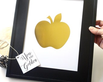 Gold Foil Apple Teacher Gift Golden Apple Teacher Appreciation Gift for Teacher End of the Year Teacher Gifts From The Class Apple Wall Art