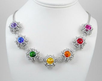 Phaedra© Swarovski Crystal Rainbow Necklace - You Choose the Colors