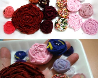 Wholesale fabric flowers small fabric flowers  rolled fabric flowers handmade fabric flowers