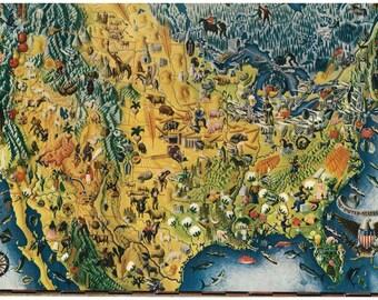 vintage mid century illustrated map united states illustration digital download