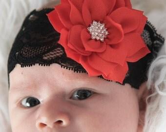 Red flower headband, black elastic headband, Christmas headband, Christmas gift, baby headband, newborn headband, toddler headband, adult