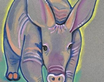 Aardvark Watercolor Painting Print, Artist-Signed