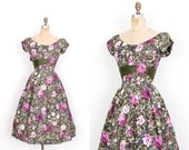 Vintage 1950s Dress / 50s Floral Polished Cotton Party Dress / Green and Purple (small S)