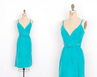 Vintage 1970s Dress / 70s Corduroy Wrap Dress / Teal Blue (XS extra small)