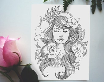 Beautiful Tattooed Lady - Adult Coloring Page- Instant Download PDF- Mindful Coloring - Magnolias and Roses