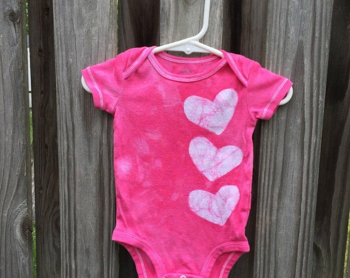Pink Baby Bodysuit, Baby Girl Gift, Pink Baby Gift, Heart Baby Bodysuit, Pink Heart Bodysuit, Baby Shower Gift (6 months)