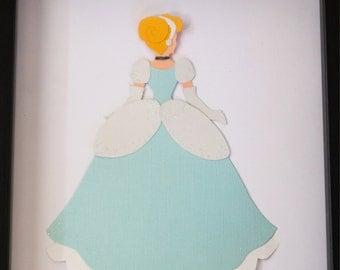 Beautiful Cinderella Disney Princess Inspired Paper Wall Art