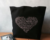 "CLEARANCE ~ Love Languages Tote - Pale Pink on a Black Canvas Bag - Carryall Tote - Valentines Day - LAST ONE -  More info in ""Item Details"""