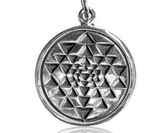 Sterling Silver Sri Yantra Charm Pendant, Charm Necklace, Silver Charm, Silver Pendant, Tribal Jewellery, Sacred Geometry Boho Jewellery