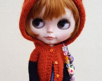 Mohair, fox, cardigan for NEO BLYTHE, jacket, Pullip, Dal, Jerry Berry