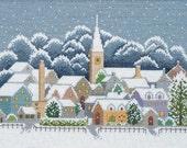 Japanese Cross Stitch Kit Modern, Winter Cotswolds Village, Ochi Michiko, Embroidery DIY Kit, Stitch Tutorial, Hand Embroidery Design, EK055