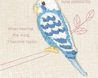 Blue  Budgerigar, Bird Patch, Cute Embroidered Iron On Patch, Japanese Colorful Iron on Applique, Made in Japan, Embroidery Applique, W099
