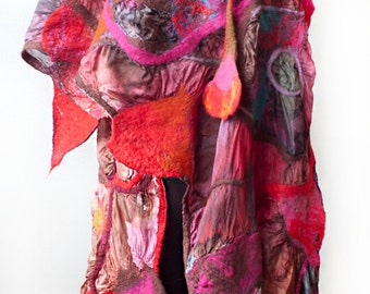 Nuno Felted Shawl Hand Painted Silk Shawl Silk Wrap Bohemian Scarf Dancing Red Made to Order