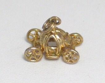 3-D stagecoach pumpkin medallion tag Sterling silver Vintage cinderella princess prom theme bracelet charm / necklace pendant small womens