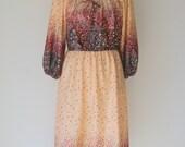 Vintage Boho Peasant Floral Peasant Style Dress
