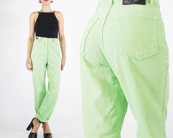 90s Versace Jeans Couture Lime Green Pants High Waist Jeans Tapered Leg Jeans Club Kid Neon Green Bright Cotton Pants Designer Vintage (S/M)