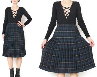 Vintage Pleated Plaid Skirt Knife Pleats Plaid Wool Skirt Checkered Tartan Skirt 60s 70s School Girl Skirt Knee Length High Waist Skirt (XS)